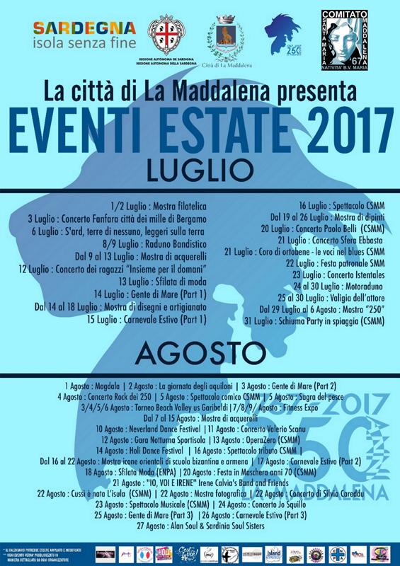 Calendario Luglio Agosto.La Maddalena Eventi Luglio E Agosto 2017 Liberissimo Net